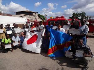 寄贈消防車の研修 修了式(コンゴ民主共和国キンシャサ市)